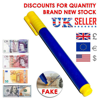 NEW Money Tester Checker Pen Bank Note Detector Counterfeit Pens Forged Fake UK