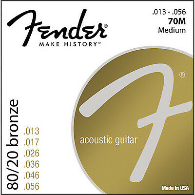 Fender 80/20 Bronze 70M Acoustic Guitar Strings .013 - .056