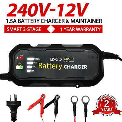 12V Smart Three-stage Battery Charger Auto SLA AGM Car Truck Boat Motorcycle AU