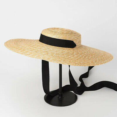 UK Wheat Straw Summer Women Flat Boater Beach Sun hat Wide Brim Exquisite Gift