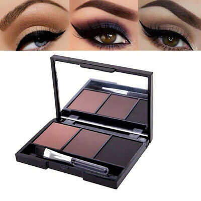 3 Color Eyebrow Powder Palette Cosmetics Makeup Shading Kit With Mirror Brush