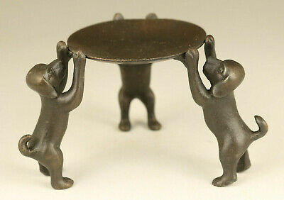 chinese old copper hand carving dog Statue oil lamp table home decorate gift