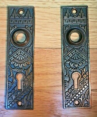 Matching Pair of Antique Eastlake Cast Iron Backplates by BLW with Orig. Finish