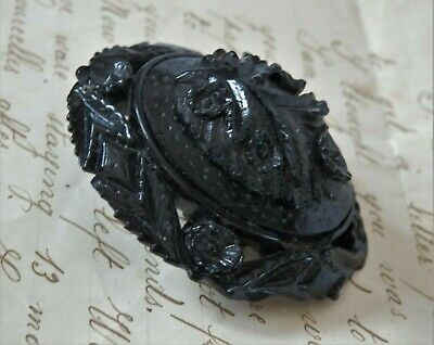 Large Antique Victorian Whitby Jet Forget Me Not Mourning Brooch Pin