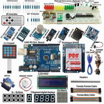 ULTIMATE UNO R3 Starter Kit per Arduino Keypad RTC 1602LCD Rele' gas motore C5I2