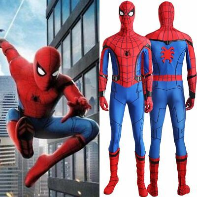 Movie Spider-Man Homecoming Spiderman Civil War Cosplay Costume Outfit Mens Suit
