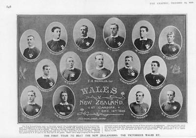 1905 Antique Print SPORT RUGBY FOOTBALL New Zealand Wales Teams All Blacks (314)