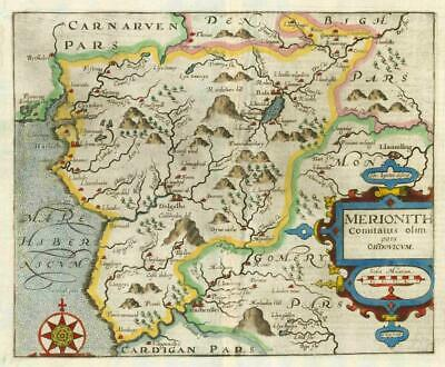 1607 - RARE 1st Edition Antique Map WALES MERIONETHSHIRE by Saxton Kip/Hole