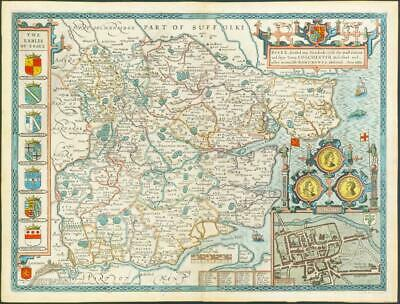 1676 Original Antique Map - ESSEX by John Speed Bassett Chiswell Hand Coloured