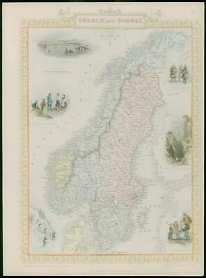 "1850 Original Antique Map of ""SWEDEN AND NORWAY"" by TALLIS - FULL COLOUR (7)"
