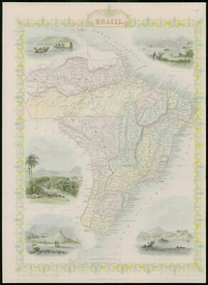 "1850 - RARE Original Antique Map of ""BRAZIL"" by TALLIS FULL COLOUR (63)"