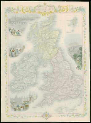 "1850 - RARE Antique Map of ""THE BRITISH ISLES"" by TALLIS FULL COLOUR (67)"