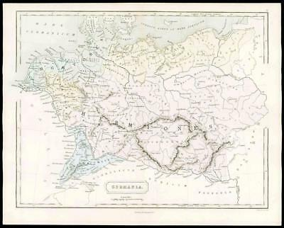 1864 - Original Antique Map of GERMANIA GERMANY Hermiones by Butler (04)