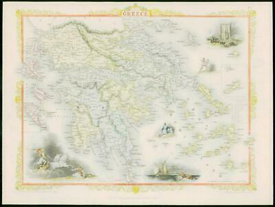 "1850 - Original Antique Map of ""GREECE"" by TALLIS - FULL COLOUR (25)"