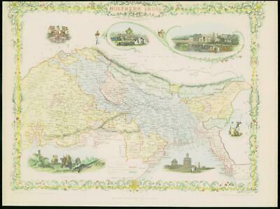 "1850 RARE Original Antique Map of ""NORTHERN INDIA"" by TALLIS FULL COLOUR (53)"