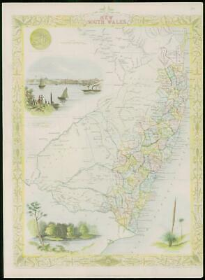 """1850 RARE Antique Map of """"NEW SOUTH WALES"""" Australia by TALLIS FULL COLOUR (77)"""