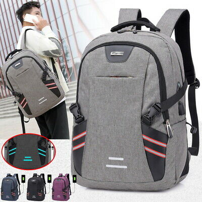 Women Men School Large Backpack Anti-Theft Travel Rucksack Shoulder Bag USB Port