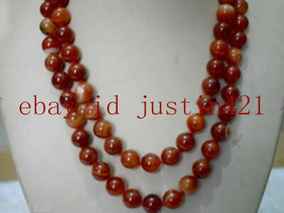 Natural New 8mm Red Striped Agate Gemstone Round Beads Necklace Long 36''