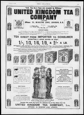 1892 Antique Print - ADVERTISING United Kingdom Tea Company Chests Bags   (154)
