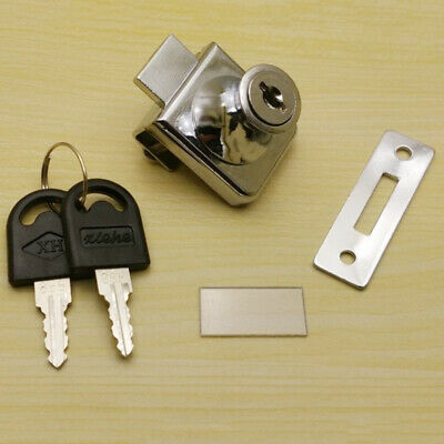 Glass Display Cabinet Showcase Locks for 5-8mm Glass Door No Drill with 2 Keys