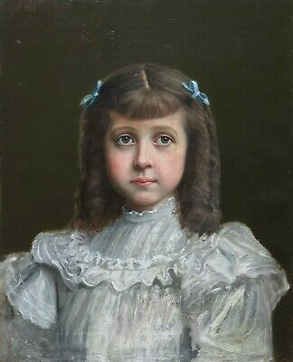 Portrait of a Girl Antique Oil Painting 19th/20th Century English School