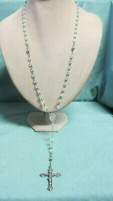 Vintage Sterling Silver and 59 Crystal Glass Bead  Rosary