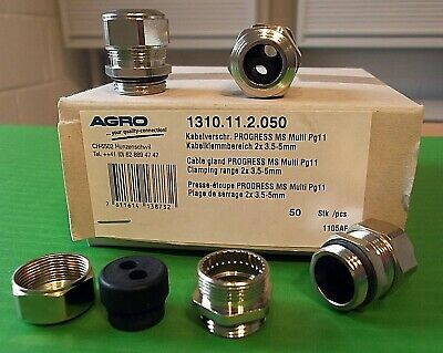Cable Gland IP68 PG11 Dual 2 Cable Entry Takes 2 Cable's Metal x 1pc Offers