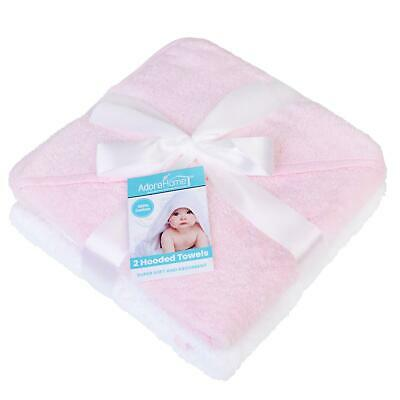 2 x Hooded Baby Towel Soft 100% Cotton Bath Wrap, Pink & White