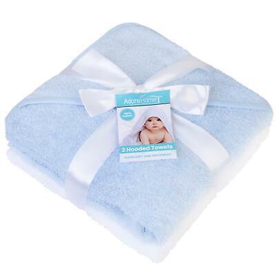 2 x Hooded Baby Towel Soft 100% Cotton Bath Wrap, Blue & White