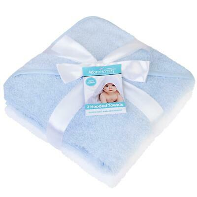 Hooded Baby Towel Pack of 2 Soft 100% Cotton Bath Wrap, Blue & White
