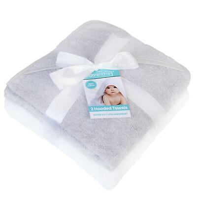 2 x Hooded Baby Towel Soft 100% Cotton Bath Wrap, Grey & White