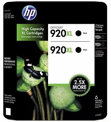 HP 920XL Black Office Jet Ink 2-Pack + 1 Pack Brand New and Factory Sealed 01/15