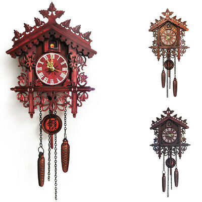 Vintage Handcrafts Wood Cuckoo Wall Clock Tree House Auto Swing Art Household
