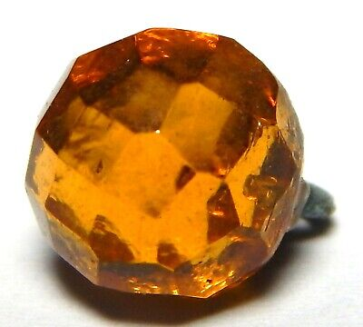 AWESOME ANTIQUE 19th CENTURY HAND FACETED AMBER GLASS WAISTCOAT BUTTON