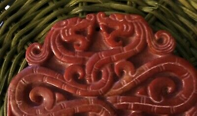 Vtg CHINESE CARVED red JADE 2 twisted 4 HEADS PIXIU  dragon paperweight PENDANT