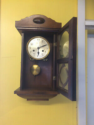 fantastic old chiming pendulum  wall clock movement working with key