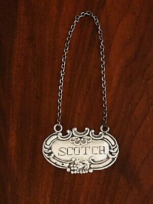 """- American Sterling Silver Bottle Tag: """"scotch"""" No Monograms [2]"""