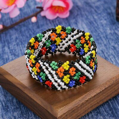 Boho Women Jewelry Printing Patterned Beads Braided Bracelet Wristband Bangle