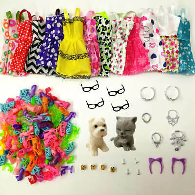 Doll Accessories Clothes Shoes Necklace Glasses For Barbie Doll Gift 34 Item/Set