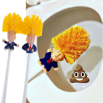 1set Donald Trump Toilet Brush Bathroom Cleaning Tool With Base Funny Gag^ G~GN