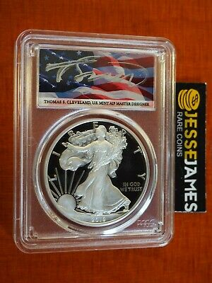 2019 S Proof Silver Eagle Pcgs Pr70 Flag Cleveland First Day Issue Label Pop 46