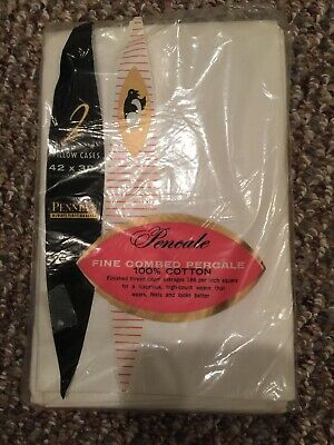 Vintage JC Penney Fine Combed Cotton Percale Pillowcases  2/pk