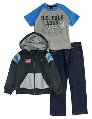 US Polo Assn Boys Black /& Heather Grey Hoodie 2pc Sweat Pant Set Size 4 5//6 7