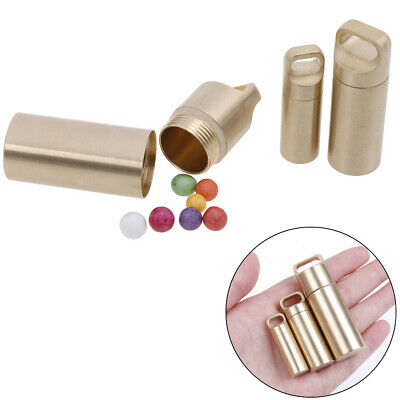 Pocket Small Brass Waterproof Pill Box Medicine Case Seal Container T~GN