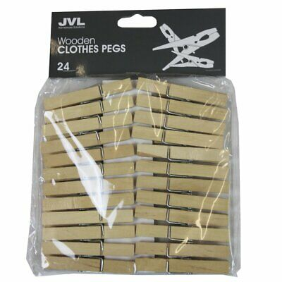 JVL Wooden Retro Vintage Clothes Pegs, 24 Pieces With Spring clip
