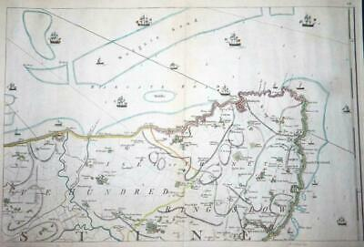 1769 - Large Antique Map of MARGATE & RAMSGATE KENT by Andrews & Dury (LM4) 1
