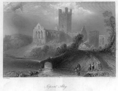 1840 IRELAND - ORIGINAL ANTIQUE PRINT View of TERPOINT ABBEY Kilkenny (211)