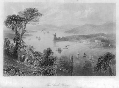 1840 IRELAND - ORIGINAL ANTIQUE PRINT View of THE CORK RIVER (214)