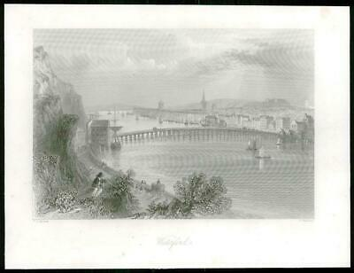 1840 IRELAND - ORIGINAL ANTIQUE PRINT View of WATERFORD (227)