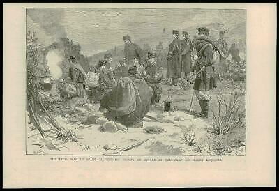 1875 Antique Print - SPAIN Mount Esquinza Civil War Alphonist Troops Camp (55)